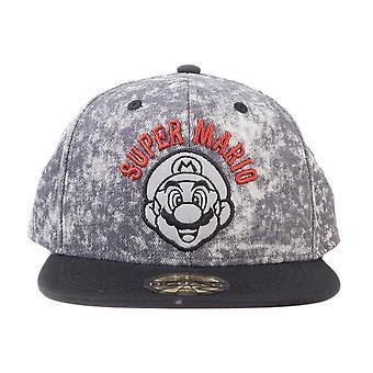 Super Mario Stone Washed Biker Snapback Cap