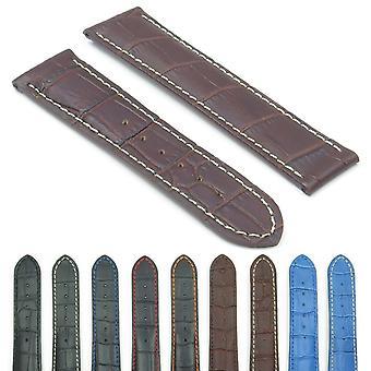 Strapsco dassari aston crocodile embossed leather strap for deployment clasp