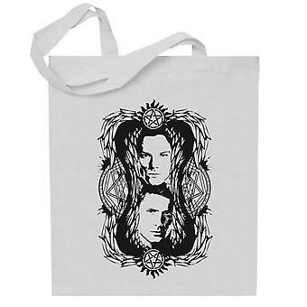 Supernatural Sam y Dean Winchester Devils Trap Montage Totebag