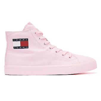 Tommy Jeans High Top Vulcanised Womens Pink Trainers