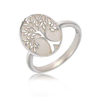 ADEN 925 Sterling Silver White Mother-of-pearl Tree of Life Oval Shape Ring (id 4176)