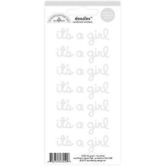 Doodlebug Design Lily White It's a Girl Doodles Stickers