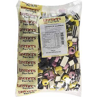 Taveners Liquorice Allsorts Sweets Bag, 3 kg