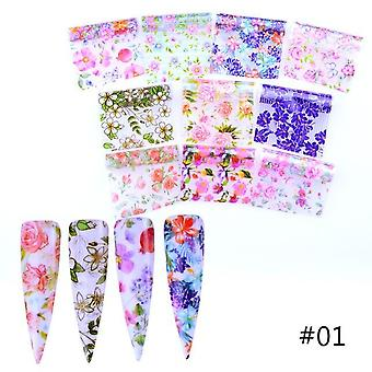 10pcs flores coloridas pegatinas -uñas Foil Transfer Starrysky Summer Sliders For Manicure Nail Art Decals Decoration