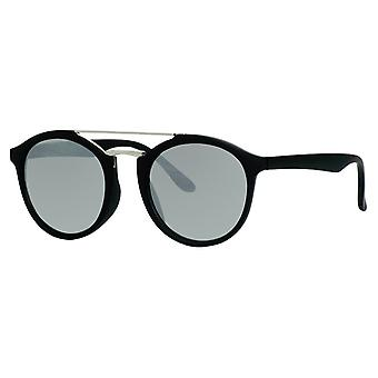 Sunglasses Unisex matt black with mirror lens (ml-6600)