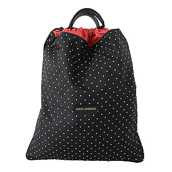 Black dotted adjustable drawstring women nap sack bag