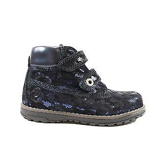 Primigi Aspy 6410188 Navy Glitter Nubuck Leather Girls Rip Tape Ankle Boots