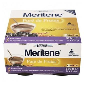 Meritene Fruit Puree Rich in Fiber Plum flavor 4 jars of 130 g