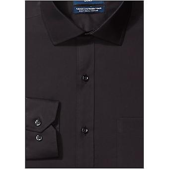 BUTTONED DOWN Men's Tailored Fit Stretch Poplin Non-Iron Dress Shirt, Navy, 1...