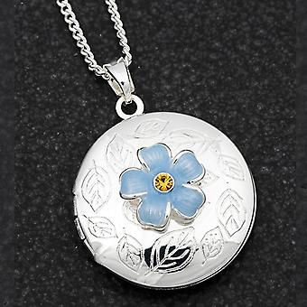 Forget Me Not Silver Plated Locket Necklace - Gift Boxed
