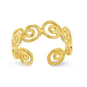 14k oro giallo lucido scorrere Toe Ring - 1,1 grammi