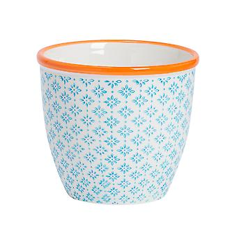 Nicola Spring Hand-Printed Plant Pot - Japanese Style Porcelain Indoor Outdoor Flower Pot - Blue - 14 x 12.5cm