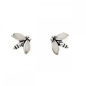 Begyndelser sterling sølv A683W hvid emalje Dragonfly stud øreringe