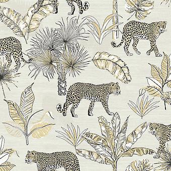 Jungle Fever Leopard Wallpaper White GranDeco JF2101