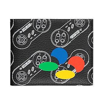 SNES Wallet Controller Print Logo new Official Black Bifold