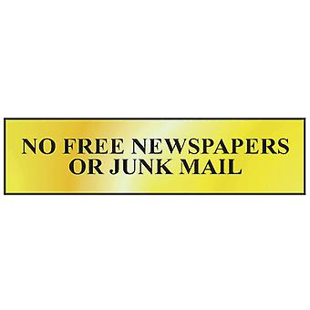 Scan No Free Newspapers Or Junk Mail - Effet laiton poli 200 x 50mm SCA6023