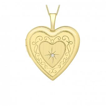 Eternity 9ct Gold Heart Shape Diamond Set 20mm Locket And 16'apos; Chain