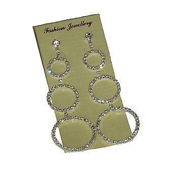 Diamante Pendientes 3 Cut Out Circle Drop Hanging Hoops Party Evening Special Occasions