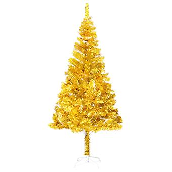 vidaXL Artificial Christmas tree with stand Golden 180 cm PET