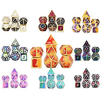 Multi Color Edge Metal Dice Set Role Playing Dragons Magic Dice Bar Party Table Game Hobbies Gift 7Pcs/Set