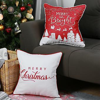 المطبوعة عيد ميلاد سعيد الزخرفية رمي وسادة يغطي