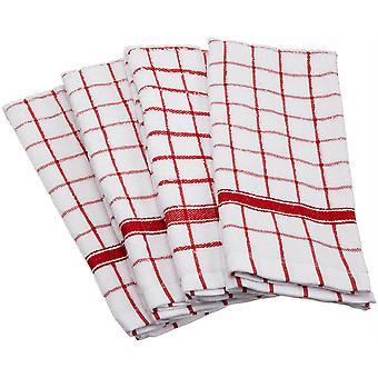 Dii Red Windowpane Terry Dishtowel (Set di 4)