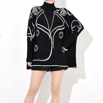 Pattern Causal Loose Oversized Autumn Winter Pullover Sweater