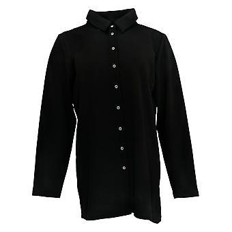 Attitudes By Renee Women's Top Button Up Tunic W/ Back Zipper Black A372053