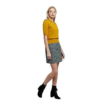 Louche Womens Aubin Quilted Floral Print Mini Skirt Teal