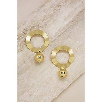 Regal Flat 18k Gold Plated Hoop With Ball Drop Earrings