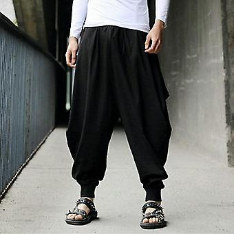 Japanese Loose Joggers Trousers Mens Cross-pants Crotch Wide Leg Baggy Pants