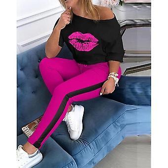 Lip Printed Half Sleeve Tops And Long Pants Two-piece Set