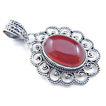 Amuleto de caneta de corrente prata 925 Sterling Silver Carnelian Orange Red Stone (No: MAH 83-16)