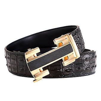 Men Leather Strap Automatic Buckle Belt For Jeans
