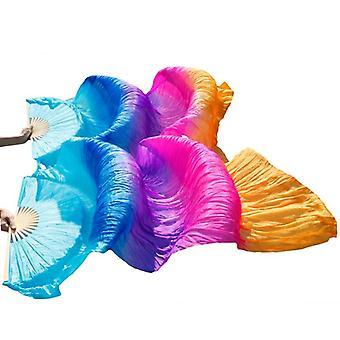 100% Real/imitation Silk Belly Dance Silk Fans Handmade Dyed Long Fan Chinese
