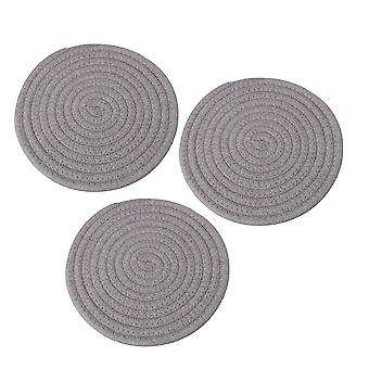 Woven Rope Insulation Hot Gifts Pad 7.08x0.25inch Grey Set of 3