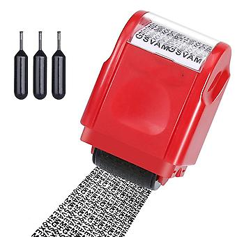 Refillable Wide Identity Protection Stamp Roller With 3 Ink