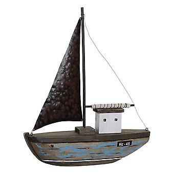 Figura Decorativa DKD Home Decor Barco Metal Paolownia madera (39 x 8 x 46 cm)