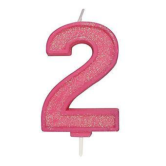 Vaaleanpunainen kimalteleva numerokynttilä - numero 2 - 70mm