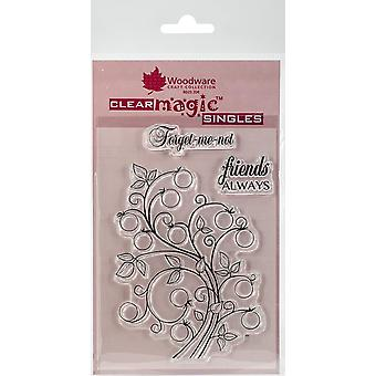 Woodware Clear Singles Bubble Bloom Curly Sue 4 in x 6 in Stamp