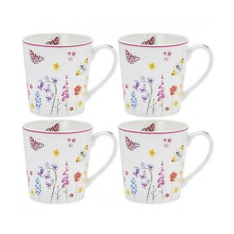Set of 4 Butterfly Garden Fine China Mugs