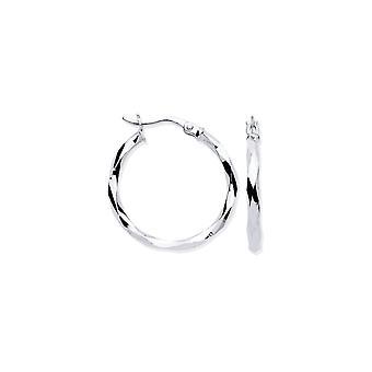 Evigheden 9ct hvidguld 27mm runde facetterede hoop øreringe