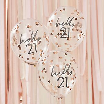 Hello 21 Rose Gold Party Balloons - 21st Birthday Balloons x 5