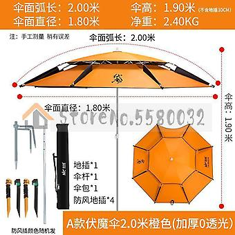 Double Layer Portable Sun Beach Umbrella, Thickened Surface For Fishing Pool,