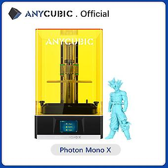 Anycubic 3d printer photon mono x, uv cd resin printer with 4k monochrome screen, app remote control, print size 192*120*250 mm
