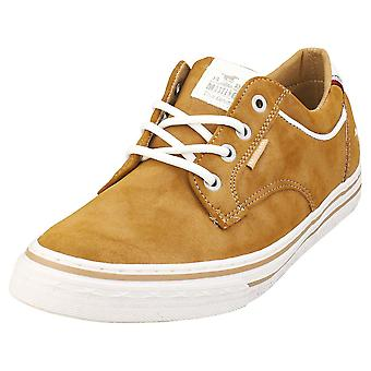 Mustang Lace Up Low Top Mens Casual Trainers in Cognac