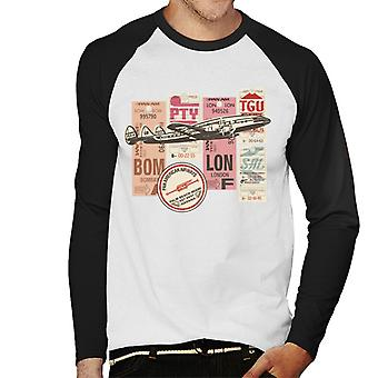 Pan Am etiquetas de equipaje Montage Hombres's Béisbol camiseta de manga larga