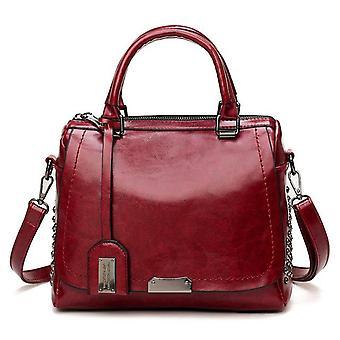 Large capacity brand oil wax leather rivet boston bag high quality female crossbody tote shouler bag