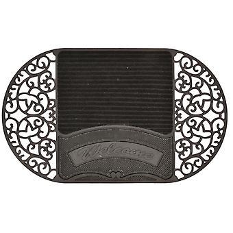 حصيرة القدم 45 × 75 × 1 سم المطاط / PVC الأسود