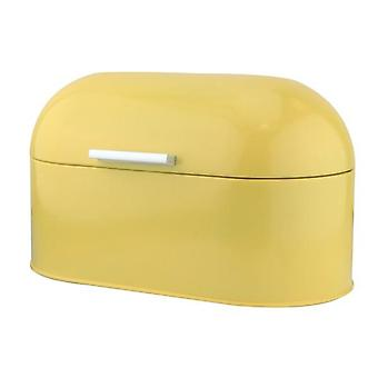 Creme amarelo aço inoxidável vintage pão bin armazenamento de alimentos